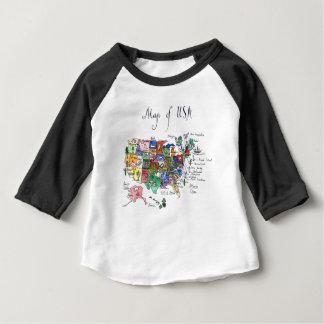 T-shirt Pour Bébé Carte des attractions des Etats-Unis d'Amérique