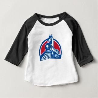 T-shirt Pour Bébé Cercle locomotif de cheval de fer rétro