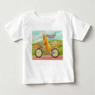 T-shirt Pour Bébé Chat orange sur une bicyclette pourpre