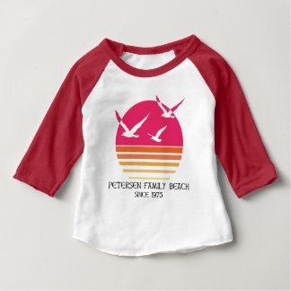 T-shirt Pour Bébé Chemise de base-ball de bébé de plage de famille