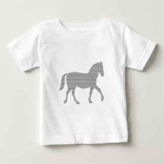T-shirt Pour Bébé Cheval - bandes - gris et blanc