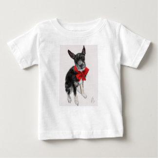 T-shirt Pour Bébé Chien avec un arc rouge