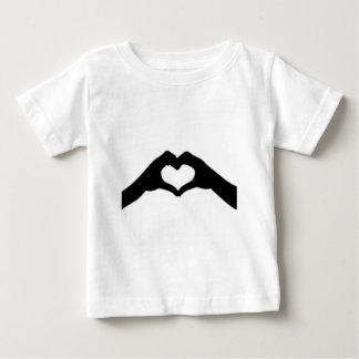 T-shirt Pour Bébé Coeur-Amour-Main-Silhouette