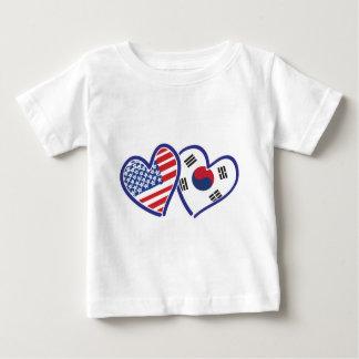 T-shirt Pour Bébé Coeurs d'amour des Etats-Unis Corée du Sud