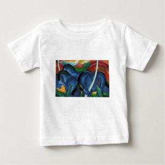T-shirt Pour Bébé conception bleue de chevaux de marc de Franz