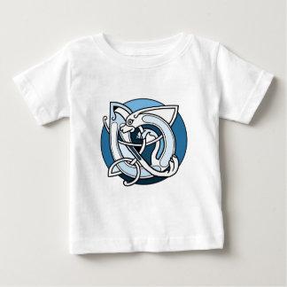 T-shirt Pour Bébé Conception de Knotwork de Celtic - chien bleu