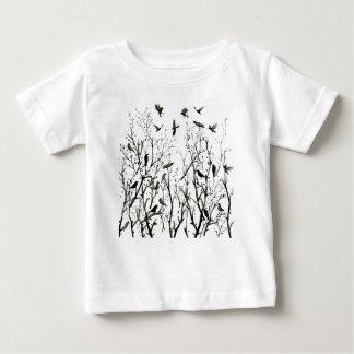 T-shirt Pour Bébé Corneilles d'encre d'aquarelle en bois
