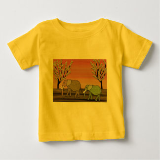 T-shirt Pour Bébé Coucher du soleil d'éléphant