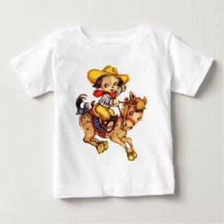 T-shirt Pour Bébé Cowboy de chiot sur son cheval