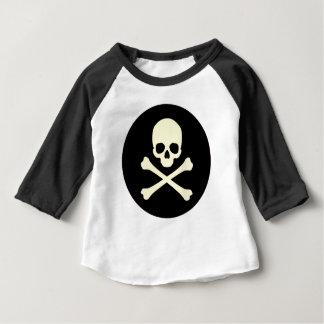 T-shirt Pour Bébé crâne et os noirs