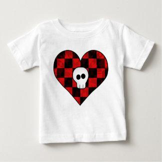 T-shirt Pour Bébé Crâne punk mignon de goth au coeur checkered rouge