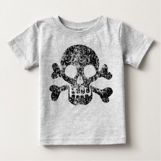 T-shirt Pour Bébé Crâne usé et os croisés