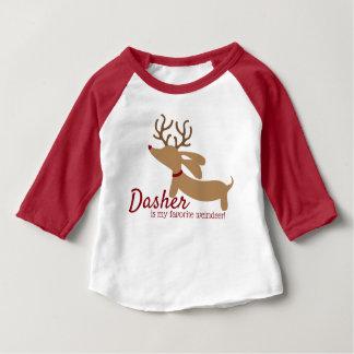 T-shirt Pour Bébé Dasher la chemise de Noël de teckel de Weindeer