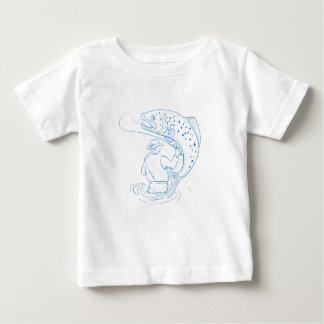 T-shirt Pour Bébé Dessin de pêche de truite de pêcheur de mouche