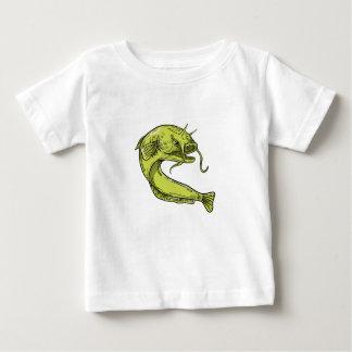 T-shirt Pour Bébé Dessin sautant de poisson-chat de diable