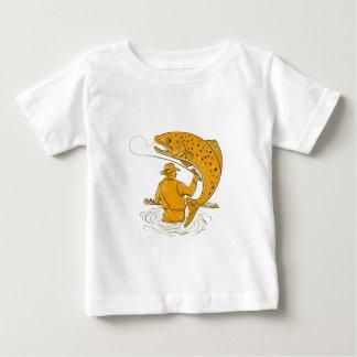 T-shirt Pour Bébé Dessin tournoyant de truite de pêcheur de mouche