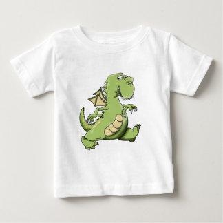T-shirt Pour Bébé Dragon vert de bande dessinée marchant sur ses