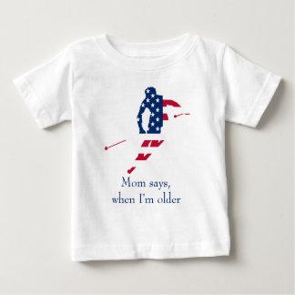 T-shirt Pour Bébé Drapeau des Etats-Unis d'Américain de ski de