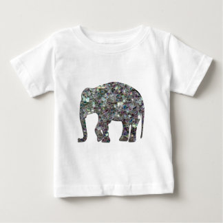 T-shirt Pour Bébé Éléphant argenté coloré scintillant de mosaïque de