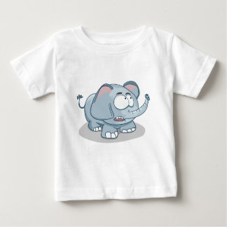 T-shirt Pour Bébé Éléphant de bébé de bande dessinée regardant dans