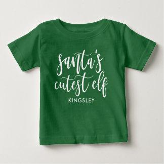 T-shirt Pour Bébé Elf le plus mignon de Père Noël de manuscrit blanc