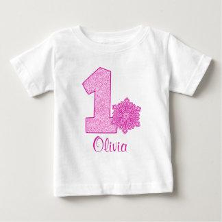 T-shirt Pour Bébé Ęr anniversaire de flocon de neige rose