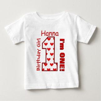T-shirt Pour Bébé ęr Coeurs de fille d'anniversaire un nom fait sur