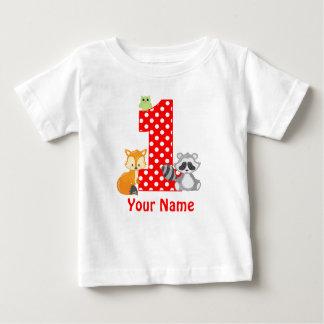 T-shirt Pour Bébé ęr Les animaux de région boisée d'anniversaire ont
