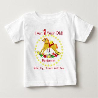 T-shirt Pour Bébé Fête d'anniversaire de cheval de basculage ?ère