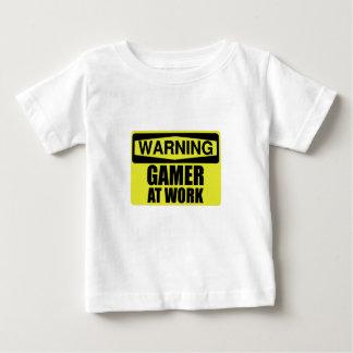 T-shirt Pour Bébé Gamer de panneau d'avertissement au travail drôle