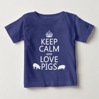 T-shirt Pour Bébé Gardez le calme et aimez les porcs (toutes les