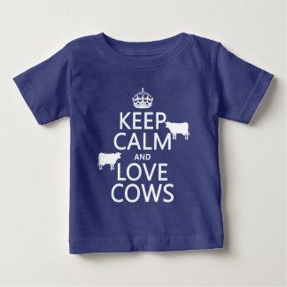 T-shirt Pour Bébé Gardez le calme et aimez les vaches (toutes les