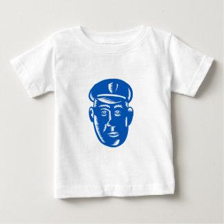T-shirt Pour Bébé Gravure sur bois en tête de policier