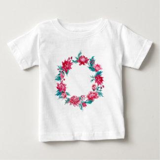 T-shirt Pour Bébé Guirlande de pivoine de Noël d'aquarelle