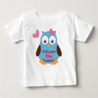 T-shirt Pour Bébé Hibou bleu mignon avec les coeurs roses