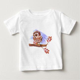 T-shirt Pour Bébé Hibou sur l'aquarelle de chêne