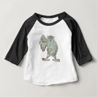 T-shirt Pour Bébé Hibou tenant le dessin spartiate de casque