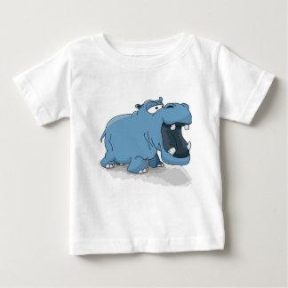 T-shirt Pour Bébé Hippopotame bleu de bande dessinée dans l'eau
