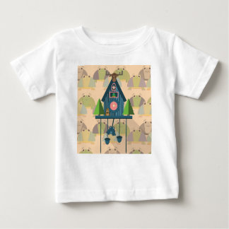 T-shirt Pour Bébé Horloge de coucou avec le papier peint de tortue