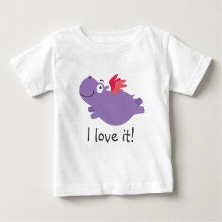 T-shirt Pour Bébé Illustration d'hippopotame de vol