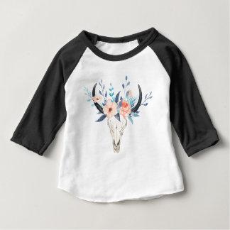 T-shirt Pour Bébé Illustration florale rose de crâne de taureau