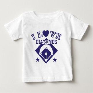 T-shirt Pour Bébé J'aime le base-ball de diamants