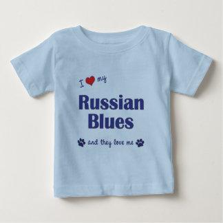 T-shirt Pour Bébé J'aime mes bleus russes (les chats multiples)