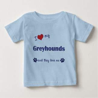 T-shirt Pour Bébé J'aime mes lévriers (les chiens multiples)