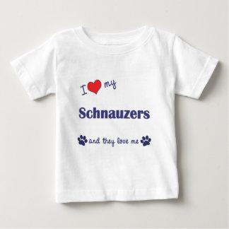 T-shirt Pour Bébé J'aime mes Schnauzers (les chiens multiples)