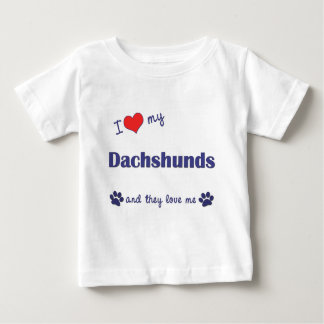 T-shirt Pour Bébé J'aime mes teckels (les chiens multiples)