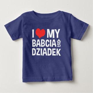 T-shirt Pour Bébé J'aime mon Babcia et Dziadek
