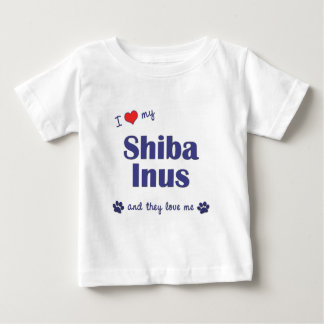 T-shirt Pour Bébé J'aime mon Shiba Inus (les chiens multiples)