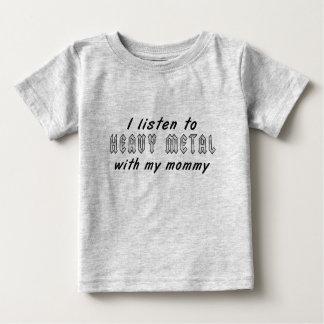 T-shirt Pour Bébé J'écoute le MÉTAL LOURD avec ma maman