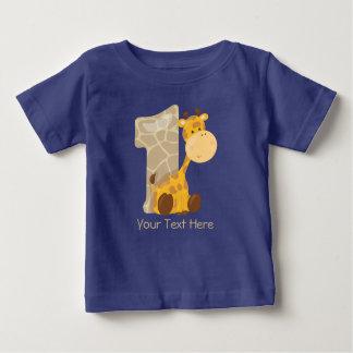 T-shirt Pour Bébé La girafe de bébé et numéro un   personnalisé